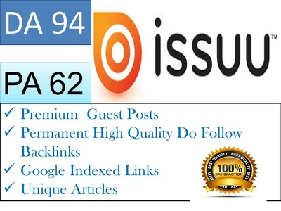 Write Article and Publish  Guest Post On Issuu DA 94
