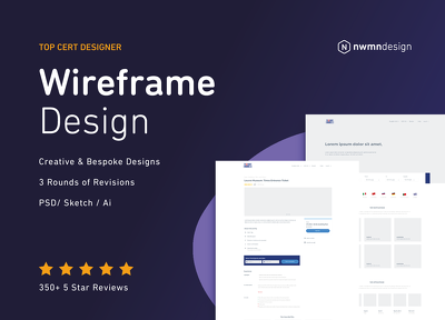 Professionally design a high fidelity wireframe for your website