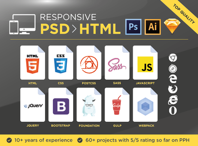 Convert AI,PNG,JPEG or PSD to HTML & CSS - Responsive included