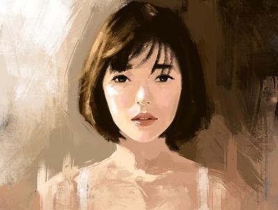 Draw digital brush strokes portrait