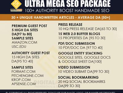 Ultra Mega SEO Pack   100+ Handmade whitehat links   Avg DA 50+