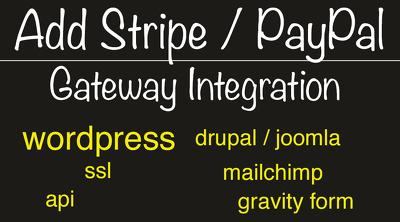 Add Stripe / PayPal to Wordpress Drupal Joomla