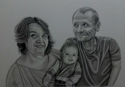 Draw Realistic Family/Couple Pencil Portrait Sketch