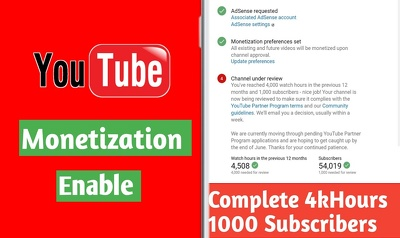 Boost Your Youtube Channel & Get you 4k Hour For Monetize Enable