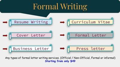 Write Professional Letter (CV, Bio, Formal letter, Cover letter)
