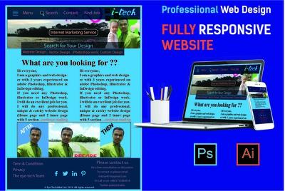 Design exclusive Photoshop web template or PSD website