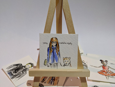 Cutely mini portrait you! Watercolour &  ink - Valentines gift!