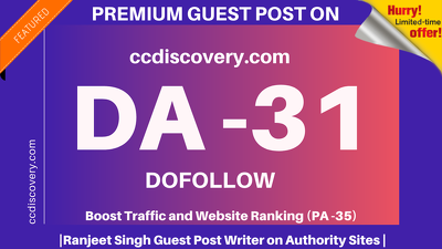 Publish Guest Post on ccdiscovery/ccdiscovery.com DA 31