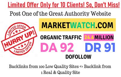 Guest Post on MarketWatch MarketWatch.com DA92(Instant Delivery)