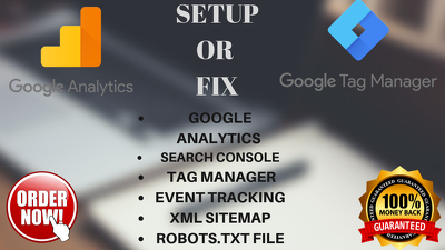Setup or fix google analytics,search console in 24 hours