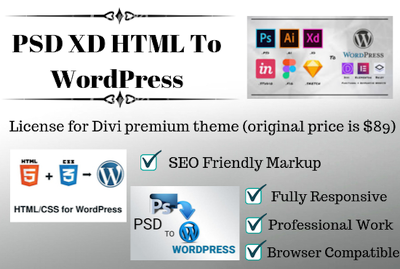 Convert 3 page custom psd xd html  design to wordpress