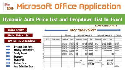 Dynamic auto price list dropdown list in excel
