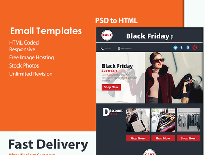 Design responsive html email template for you