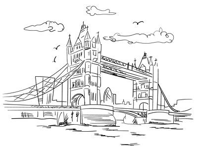 Create a sketch style line drawing of landmark or building
