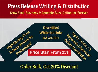 Write A Killer Press Release, Distribute to 25 sites