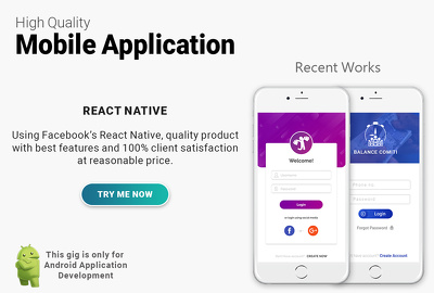 Develop quality android mobile app using react native