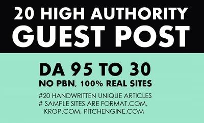 Write & Publish 20X High Authority Guest Post DA[95-30]