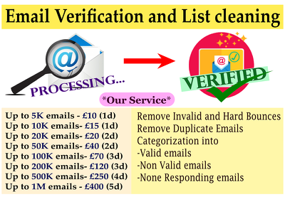 Provide bulk email verification and List cleaning service