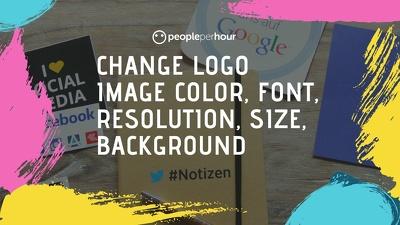 Change logo image color, font, resolution, size, background