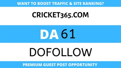 Publish Guest Post on Cricket365 - Cricket365.com - DA61