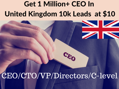 10k CEO/CMO/CFO/Director contact details for US/UK/CANADA