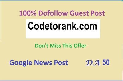 Do  Guest Post on codetorank.com with Dofollow Backlink