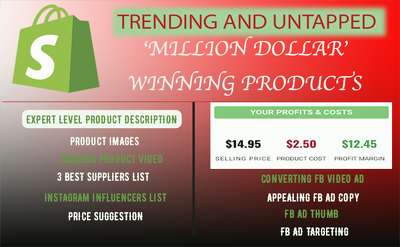 Find winning shopify dropshipping products,fb video,ad,targeting
