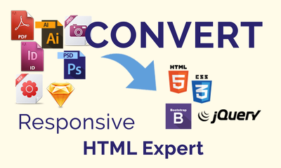Convert psd to HTML also xd, png, jpeg, sketch to html bootstrap