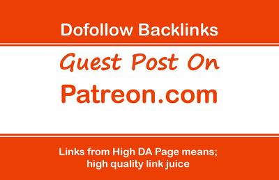 Provide Guest Post On Patreon.com _ Patreon DA 91