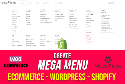 Create mega menu for ecommerce shopify wordpress website