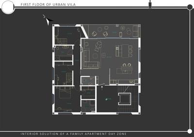 Conceptual design of medium size apartment.