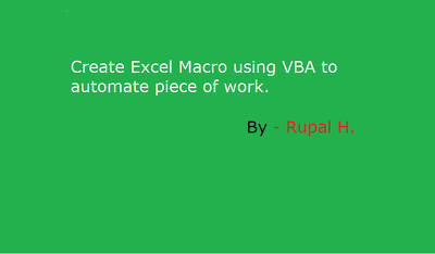 Create excel macro/formula to automate piece of work