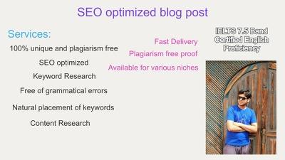 Write SEO optimized blog content