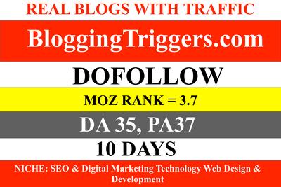 GUEST POST bloggingtriggers.com Blogging Triggers DA35 DOFOLLOW