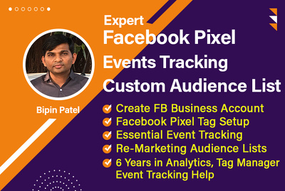 Setup Facebook Pixel, event tracking and build remarketing lists