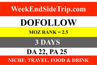 publish a guest post on weekendsidetrip.com TRAVEL FOOD NICHE