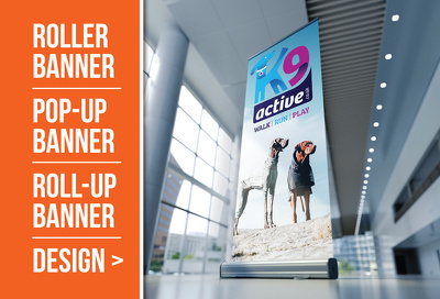Design your roller banner / pop up / roll up or pull up banner