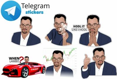 Create 5 custom telegram stickers for your crypto or ico company