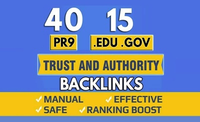 40 PR9 + 15 EDU GOV Backlinks From Authority Domain For SEO Rank