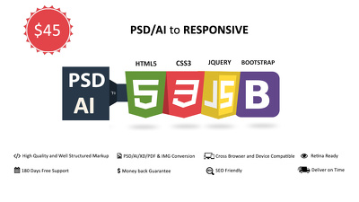 PSD/XD/AI/PDF/IMG to Responsive HTML5 , CSS3 using BOOTSTRAP