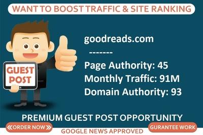 Add a guest post on goodreads, goodreads.com DA 93