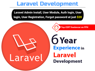 Install Laravel with main functionalities and issue fixes.