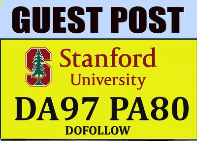 Publish Guest post on Stanford.edu DA97 PA80 TF70+ Blog