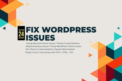 I will help fix wp error, wordpress, debug,issue within 24 hours