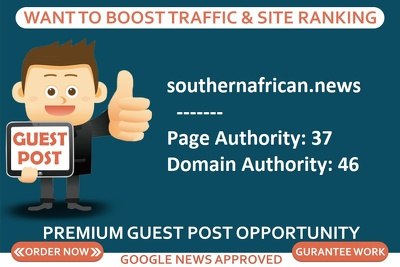 Add a guest post on newspaper site southernafrican.news