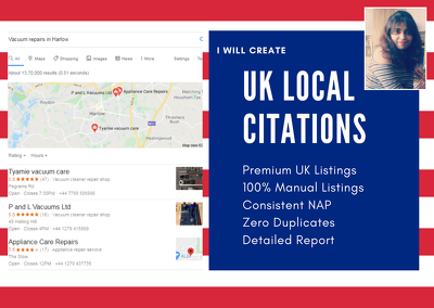 Create 160 UK local citations that help in local SEO rankings