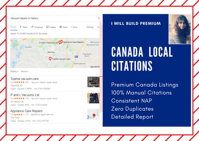 Create 80 Premium Canada Local Citations