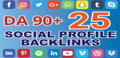 Create 25 High DA 90+ Social profile Backlinks