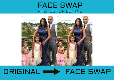 Face swap   head swap in Photoshop of 1 photo