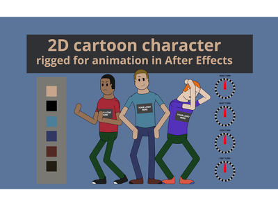 2D cartoon character rigged for animation in AE